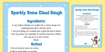 Sparkly Snow Cloud Dough Recipe - sparkly snow, cloud dough, recipe