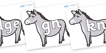 Silent Letters on Donkeys - Silent Letters, silent letter, letter blend, consonant, consonants, digraph, trigraph, A-Z letters, literacy, alphabet, letters, alternative sounds