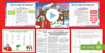 KS2 The North Pole News: Christmas Newspaper Reports Activity Pack - Christmas, Santa, Father christmas, reports, newspapers, headline, recount,