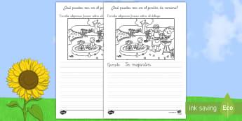 Ficha de actividad: Escribir sobre el dibujo - Jardín de verano - escritura, escribir, verano, jardín, vocabulario, descripción, describir, estación, estaciones, f