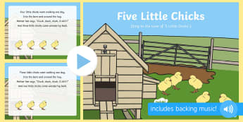 Five Little Chicks Song PowerPoint - On the Farm, Spring, Easter, Chick, Chicken, new life, singing, song time, PowerPoint, PPT,