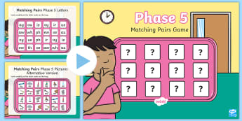 Matching Pairs Phase 5 Letters and Sounds Memory PowerPoint Game - digraphs, digrahps, vowels, long vowels, split digraphs, letters and sounds resources, free letters