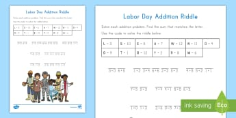 Labor Day Addition Mystery Activity Sheet - Community Helpers, america, Workforce, Basic Addition, September 4, worksheet