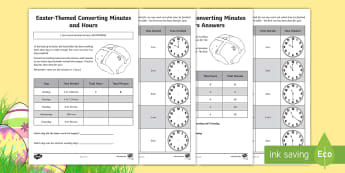 Year 4 Easter-Themed Converting Minutes and Hours Activity Sheet - Australia Easter Maths, Easter, Australia, mathematics, year 4, time, worksheet, minute, hour, minut