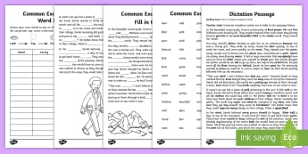 Dictation Passages Year 2 Exception Words Guide