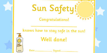 Sun Safety Certificates - sun safety, certificates, award, reward