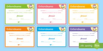 End-of-Year Vocabulary Award Certificates Spanish - Diploma, award, prize, end, term, reward, spanish, ks3