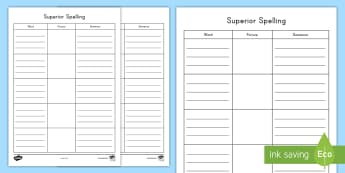 Superior Spelling Activity Sheet - Spelling, Spelling Patterns, writing sentences, Language, Literacy Centers