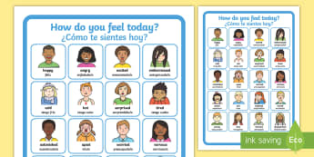 How Do You Feel Today? Emotions Chart A4 Display Poster English/Spanish - Emotions, Today, Chart, emtions, pictures of people frieghtened, EAL, Spanish,,Spanish-translation