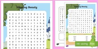 Sleeping Beauty Wordsearch - sleeeping beauty, wordsearch, themed wordsearch, word games, find the word, themed games, word activities, games, activities