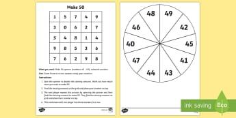 Make 50 Game - Mental Maths Warm Up + Revision - Northern Ireland, make 50, games, spinner, number bonds