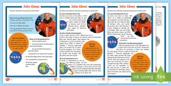 KS1 John Glenn Differentiated Fact File - Space Week, World, Information, Non-fiction, Astronaut, Space