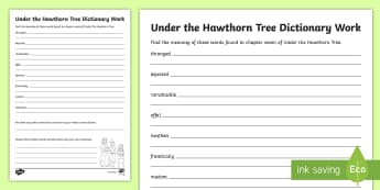 Chapter Seven Dictionary Work Activity Sheet to Support Teaching on Under the Hawthorn Tree - worksheet, vocabulary, comprehension, stories, novel, English, Irish, famine,