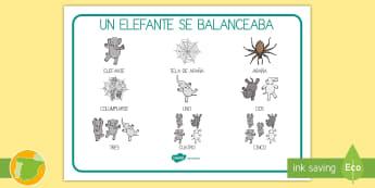Tapiz de vocabulario: Un elefante se columpiaba 1-5 - elefante, canción, tradicional, contar, numeración, Spanish