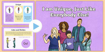 I Am Unique PowerPoint - CfE, Health and Wellbeing, Rights Respecting Schools, Children's Rights, Needs, Wants, Unique