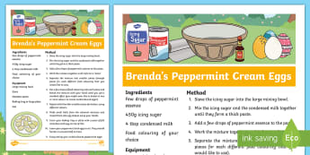 Brenda's Boring Egg Peppermint Cream Eggs Recipe - KS1, EYFS, Design and Technology, Parents, Home learning, story sack, duck, ducks, ducklings, duck l