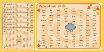 Autumn Themed KS1 Word Mats - seasons, visual aid, weather, write