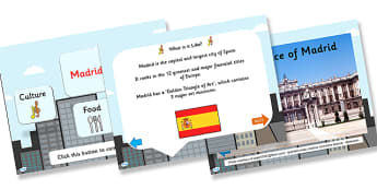 Madrid Information PowerPoint - madrid, madrid powerpoint, spanish capital, capital of spain, capital cities, information about madrid, spain, places, ks2