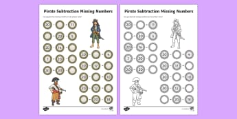 Pirate Themed Missing Numbers Subtraction Within 20 Activity Sheet - Number bonds,worksheet, activity sheet, pirate, subtraction, subtract, minus, take away - Number bonds,worksheet, activity sheet, pirate, subtraction, subtract, minus, take away
