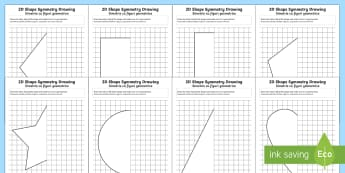2D Shape Symmetry Drawing Activity English/Romanian - maths, symmetry, symmetrical, half, halves, shape, 2D,Romanian-translation