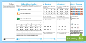 Year 2 Maths Odd and Even Numbers Homework Activity Sheet - year 2, maths, homework, odd, even, properties of numbers, counting in 2s, number patterns, sequence