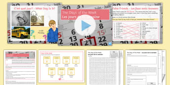 Cover Lesson: The Days of the Week Cover Work Lesson Pack - days of the week, jours de la semaine, French cover work, Key stage 3, Cover lesson, jours de la sem