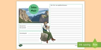 John Muir Writing Template - National Parks, Significant People, Environmentalist, Author, Dunbar,Scottish