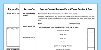 Person-Centred Review Parent Feedback Form - person centred, review, parent feedback, form