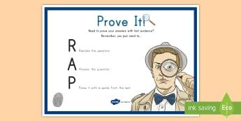Prove It! Text Evidence Display Poster - Text citing, Answering Questions, Reading Response, comprehension, guided reading