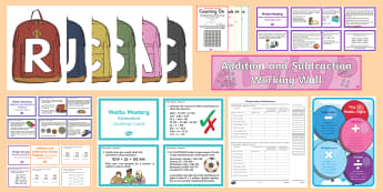 UKS2 Addition and Subtraction Working Wall Display Pack - maths display, classroom display, interactive display, problem solving, calculation strategies, addi