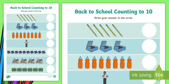 Back to School Counting to 10 Activity Sheet - CfE Back to School Early Level, Back to School, New class, new school year, transition, getting to k