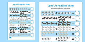 Dog-Themed Up to 20 Addition Sheet - Dame Lynley Dodd, hairy maclary, dog, addition sheet, 20