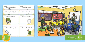 Classroom Scene Preposition Game Can You Guess? Cards  - Prepositions, Questions, Game, Cards, Preguntas Y Respuestas, Preposiciones, Inglés, Preposiciones