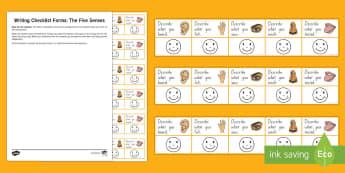 NZ Level 1 Writing 5 Senses Self-Assessment Checklist - NZ Literacy Resources, 5 senses, student self assessment, writing assessment, writing checklist, rub