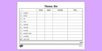 Spelling List Bia 1 Irish Activity Sheet Activity Sheet - Irish, worksheet