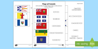 Flags of Canada's Provinces and Territories Activity Sheet - Canada, country, flag, flags, province, territory, territories, worksheet