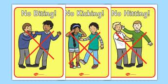 No Biting No Kicking Display Posters - No biting, no kicking, Good manners, good behaviour,  display, banner, class management, poster, sign, sharing, behaviour management, SEN, polite, indoor voice