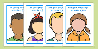 Face Playdough Mats - Playdough mat, playdough resources, ourselves, all about me, emotions, feelings, face, faces, playdough