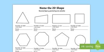 Name the 2D Shape English/Polish - Name the 2D Shape KS1 Worksheet - worksheet, ks1, 2d shape, 2d, 2Dshape, shaoe, Polish translation
