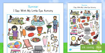 Summer Themed I Spy With My Little Eye Activity - summer, I Spy, seek, visual, observational skills, seasons, vacation, weather, august, june, new sch
