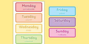 Days of the Week Word Cards Polish Translation-Polish-translation
