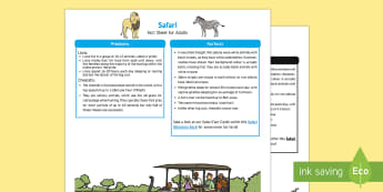 Safari Fact Sheet for Adults - EYFS, Early Years, KS1, Understanding the World, exploration, discovery, finding out, facts, information, Africa, Savanna, grasslands, ecosystems, habitats, animals