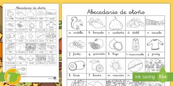 Hojas de colorear de vocabulario: Abecedario de otoño - otoño, fiestas, tradiciones, castañas, castañera,Spanish