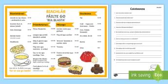 Biachlár - Reading and Questions Worksheet / Activity Sheet Gaeilge - biachlár, bia, bialann, léamh, ag ordú, dramaíocht,Irish