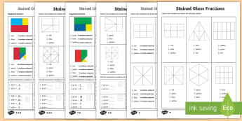 Year 5 Stained Glass Fractions Differentiated Activity Sheets - Half, Third, Quarter, Fifth, Sixth, Eighth, Tenth, Twelfth