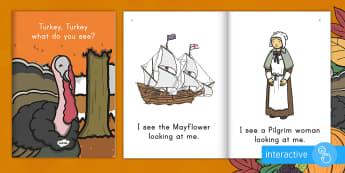 Thanksgiving Emergent Reader eBook - Thanksgiving Day, the first thanksgiving, thanksgiving ebook, sight words, thanksgiving vocabulary