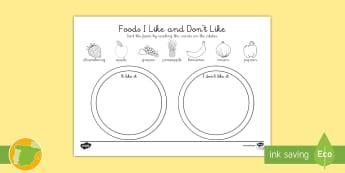 Ficha de actividad: La comida que me gusta y la que no me gusta Inglés - food, alimentos, ordenar, sort, lengua extranjera Spanish translation