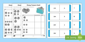 Money Treasure Hunt Activity Sheet, worksheet