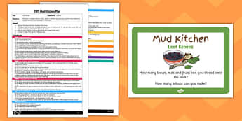 Leaf Kebabs EYFS Mud Kitchen Plan and Prompt Card Pack - mud kitchen