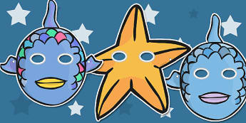 Story Role Play Masks to Support Teaching on The Rainbow Fish - The Rainbow Fish, Marcus Pfister, resources, Rainbow Fish, PSHE, PSE, octopus, shimmering scales, starfish, friendship, under the sea, sea, story, story book, story book resources, story